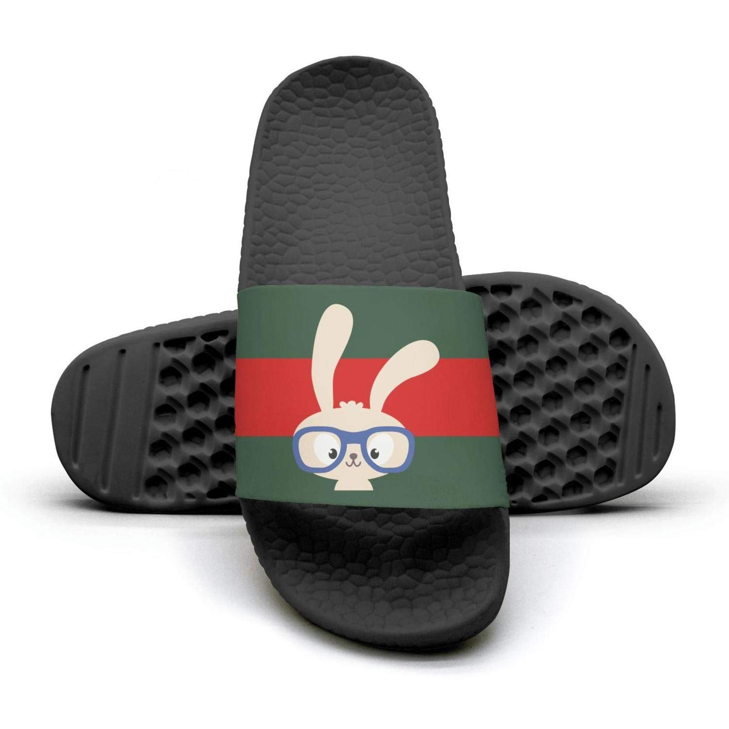 Glasses Rabbit Man red and green stripe Summer Sandals Slides Mules Slippers