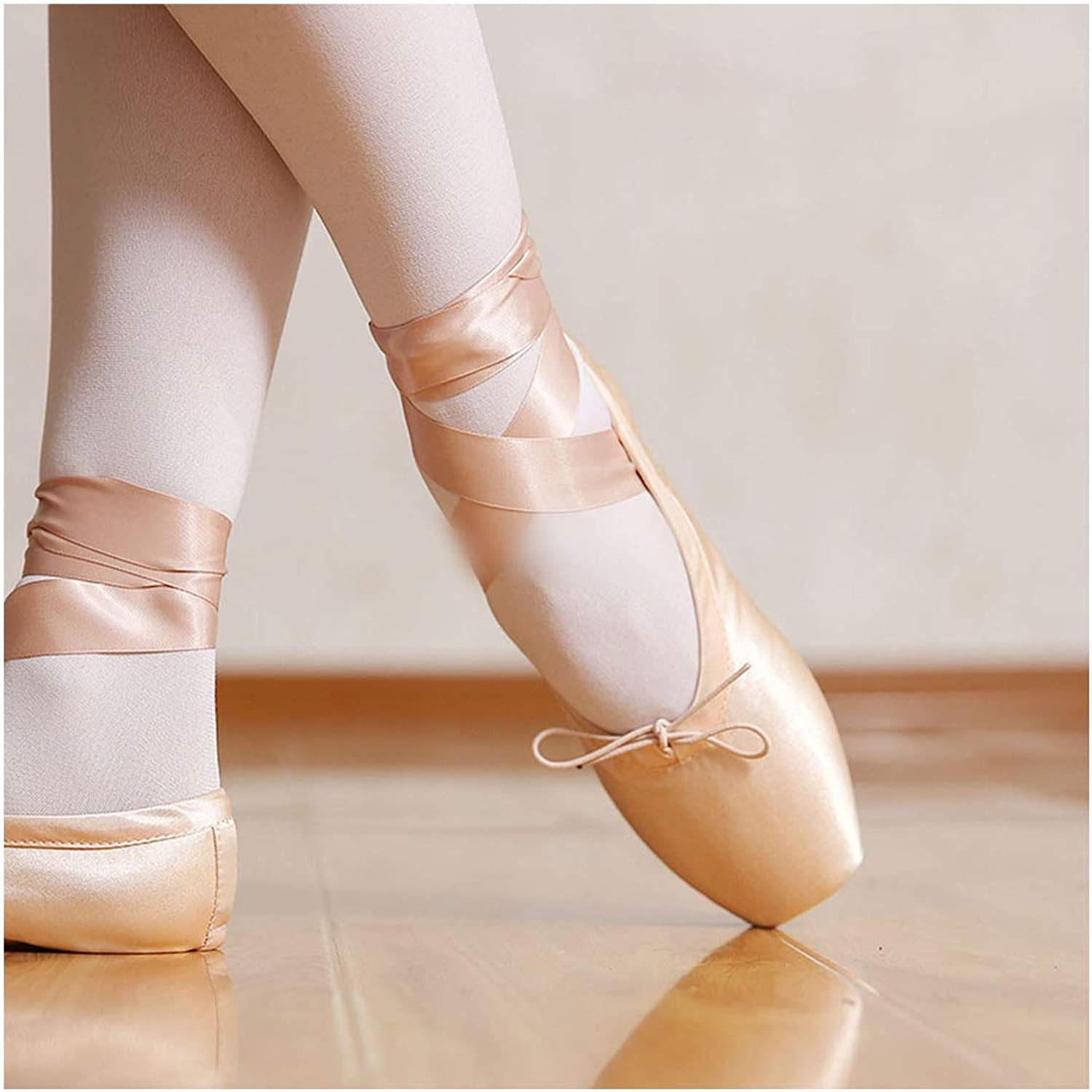 Amazon Com Child And Adult Ballet Pointe Dance Shoes Professional Ballet Dance Shoes With Ribbons Shoes Satin Red 6 Ballet Dance