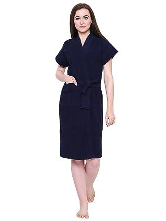 Secret Wish Womens Navy-Blue Towel Bathrobe (Free Size)-HC-E128-539