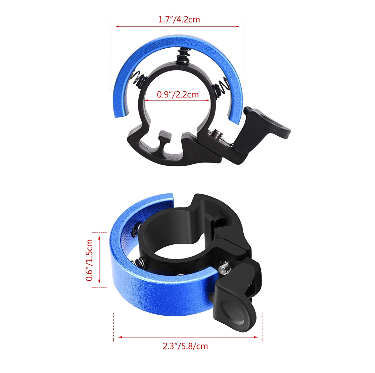 TOBWOLF Mountain Bike Bicycle Bell Free Rider Blue Aluminum Invisible Bike Bell Ring for MTB BMX