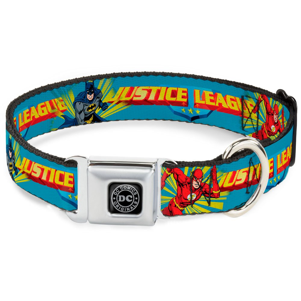 Buckle-Down Seatbelt Buckle Dog Collar - Justice League Superhero Action Poses1 Baby Blue - 1 Wide - Fits 15-26 Neck - Large Buckle-Down Pet Products DC-WJL005-L
