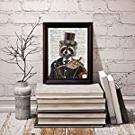 "Fresh Prints of CT Dictionary Art Print - Steampunk Racoon Colonel Roderick Racoonbottom - Printed on Recycled Vintage Dictionary Paper - 8""x11"" - Mixed Media Poster on Vintage Dictionary Page 8"