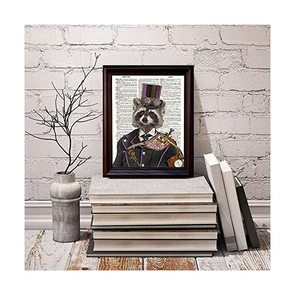 "Fresh Prints of CT Dictionary Art Print - Steampunk Racoon Colonel Roderick Racoonbottom - Printed on Recycled Vintage Dictionary Paper - 8""x11"" - Mixed Media Poster on Vintage Dictionary Page 5"