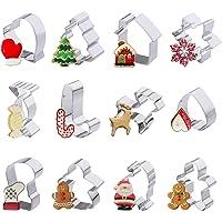 Lot de 12emporte-pièces de Noël pour enfants Bonhomme Flocon de neige Arbre de Noël et autres formes en acier inoxydable Biscuits Cutter par Iindes