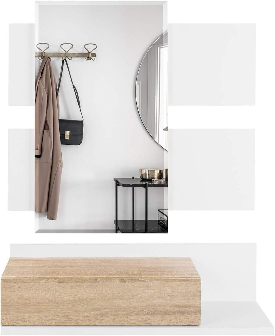 di Colore Bianco e Rovere Mobile da Entrata con Cassetto Molto Resistente e Stabile COMIFORT Mobile Ingresso Sospeso Specchio e Ripiano in Stile Nordico e Moderno