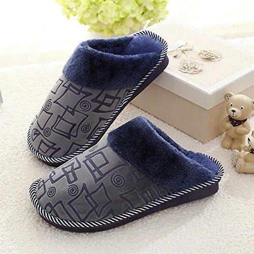 Cotone fankou pantofole pacchetto femmina con un paio di soggiorno invernale home anti-slittamento caldo spesse pantofole maschio e ,38-39, blu grigio square