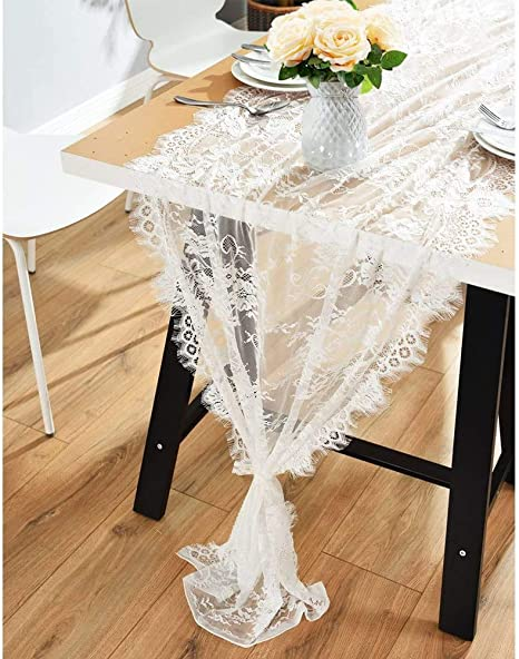 Rustic Table Runner Modern Lace Coffee Table Home Party Floral Embroidered CO