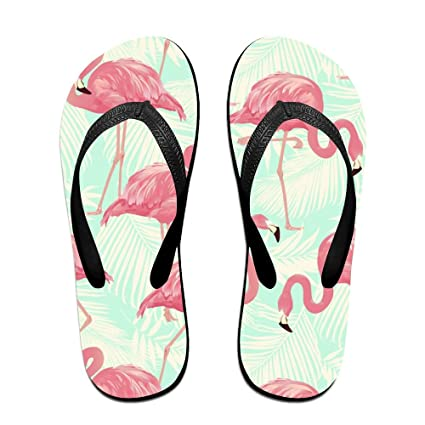 Flamingo Beach Palm Flip Flops Thong Beach Sandals Light Weight Non-slip Outdoor Water Slippers For Women Men