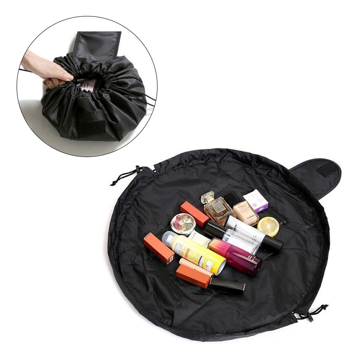 Makeup Bag, Esther Beauty Portable Travel Cosmetic bag Makeup Storage Organizer with Zipper and Drawstring (Black) Esther Beauty SBABC001
