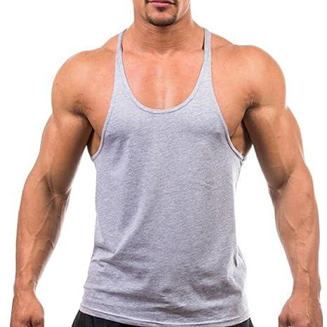 TININNA Hombres Chaleco,Fitness Apretado Camiseta de Tirantes Tank Sin Mangas.-Gris M