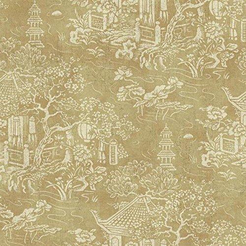 Wallpaper Designer Beige Pagoda Asian Garden on Gold Faux ()