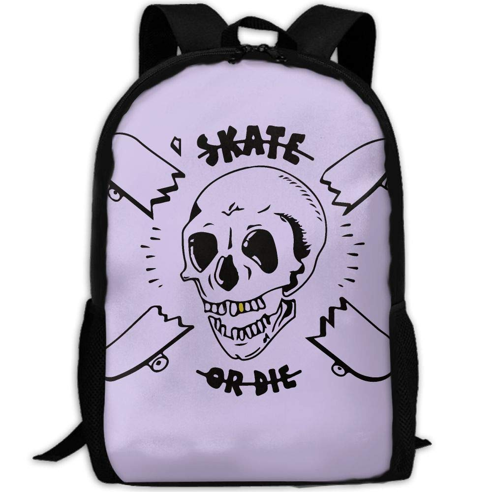 OIlXKV Peaked Skate Or Die Print Custom Casual School Bag Backpack Multipurpose Travel Daypack For Adult