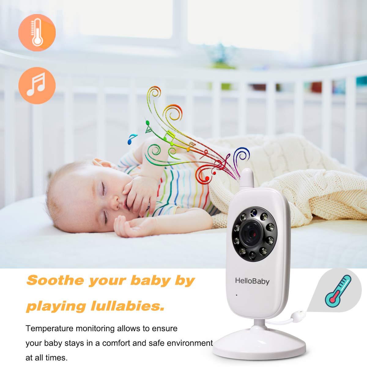 HelloBaby Video Baby Monitor with Camera - Infrared Night Vision, Two-Way Talk Back, Screen, Temperature Detection, Lullabies,Long Range, Private Data Protection and High Capacity Battery by HelloBaby (Image #4)
