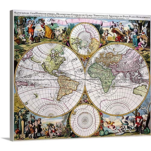 (GREATBIGCANVAS Gallery-Wrapped Canvas Entitled Double Hemisphere Polar Map in The 17th Century by 60