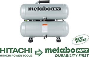 Metabo HPT EC99S Electric Air Compressor, Twin Stack, Portable, 4-Gallon, Cast Iron, Oil Lubricated Pump 135 PSI, 1-Year Warranty