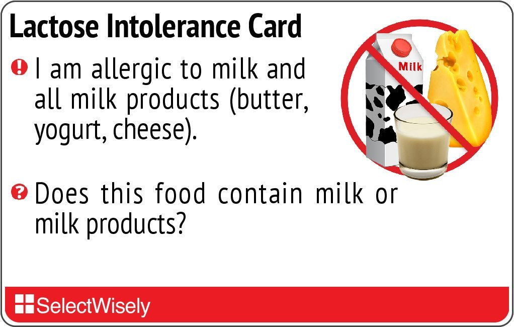 Lactose Intolerance Allergy Translation Card - Translated in Afrikaans or any of 25 languages