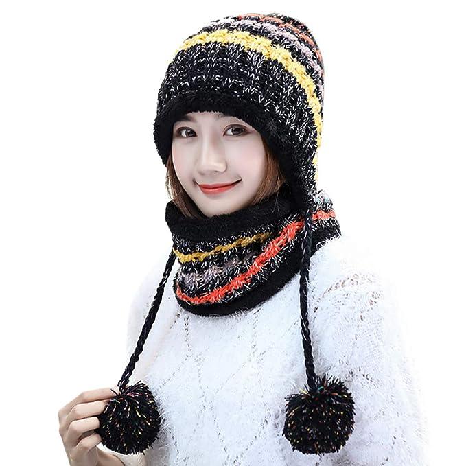 Longsw 2pcs   Set Mujeres Chica De Invierno Sombrero De Punto De Contraste  De Color Cable c96f6ddc8d7
