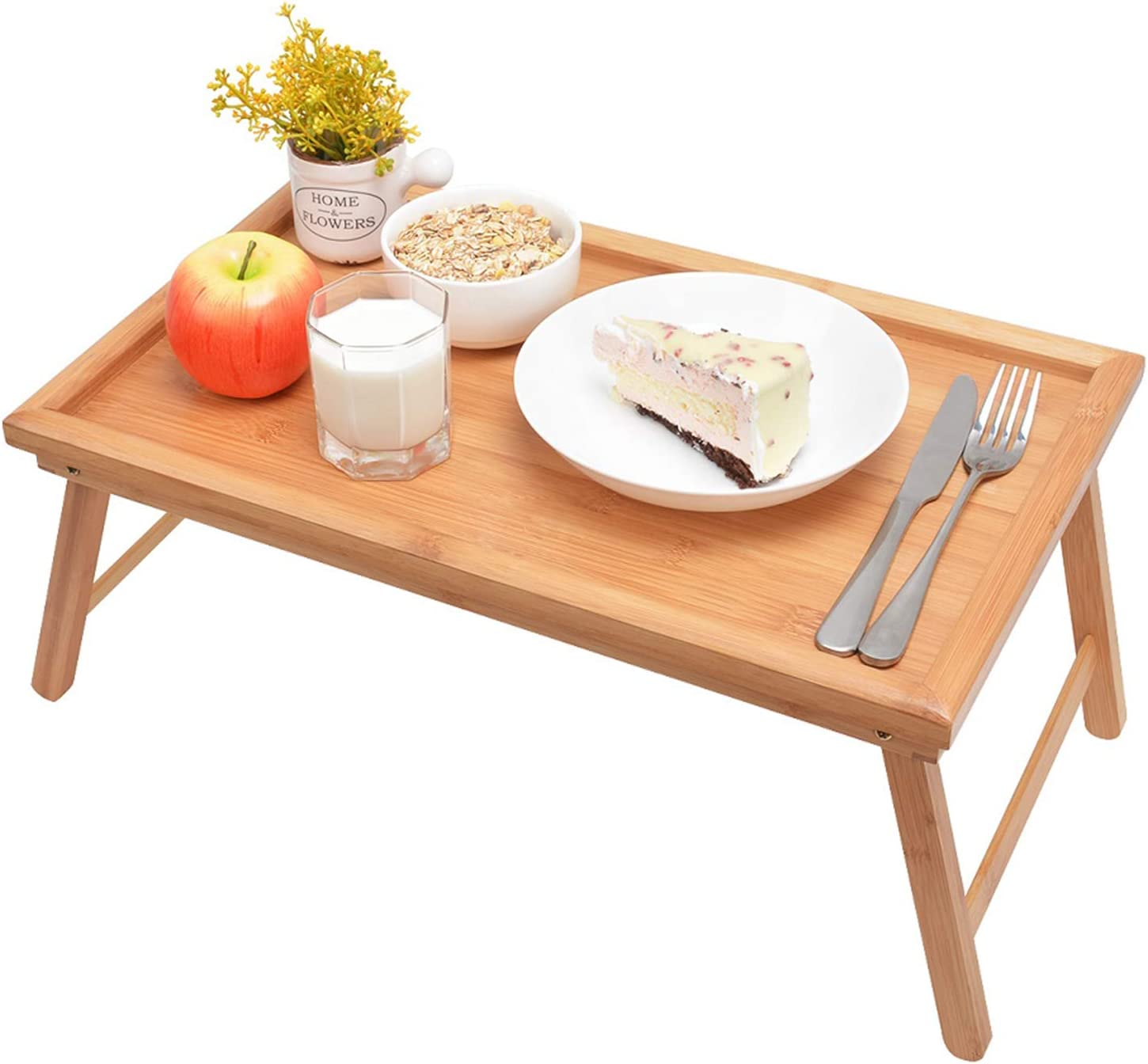 Zhuoyue Bamboo Bed Tray With Folding Legs Lap Tray Breakfast Tray Great For Breakfast In Bed Or Eating Tray