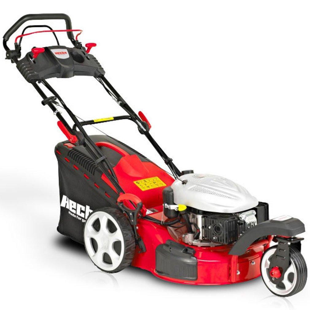 HECHT Benzin-Rasenmäher 5483 SWE 3-Rad Benzin-Mäher + Elektro-Start Funktion (5 PS Motorleistung, 46 cm Schnittbreite, 7-fache Schnitthöhenverstellung 25-75 mm, 60 L Fangsack)