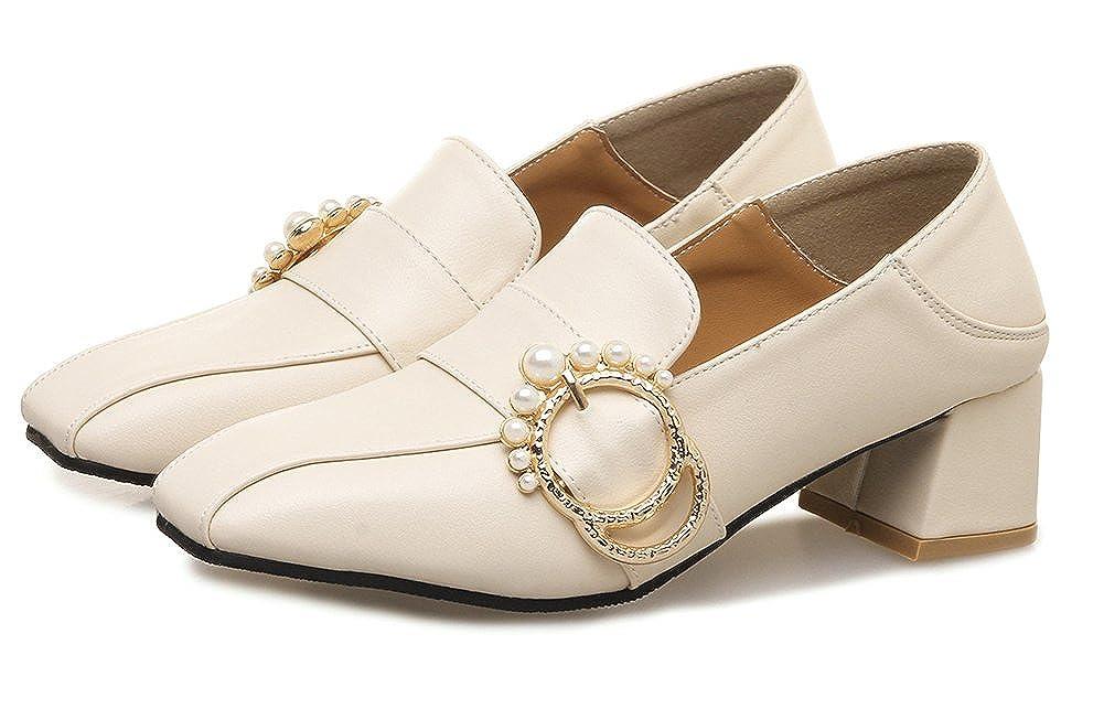 Aisun Damen Kunstleder Quadratische Zehen Perlen Schnalle Low Top Top Top Blockabsatz Loafers Pumps 7028c0