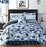 Sky Blue Camouflage Boys Teens Camo Comforter + Sheets + Shams + Bedskirt Bedding Set + Home Style Exclusive Sleep Mask! ( Piece Bundle) (Queen)