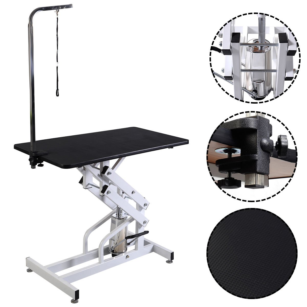 HPD 42.5'' x 23.6'' Z-Lift Hydraulic Pet Dog Adjustable Grooming Table W/Arm&Noose