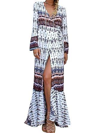97a4dea0547 LaoZan Femme Longue Robe Bohême Robe en Tissu Imprimé Robe Fendue Robe  Manches Longue Blanc et Brun  Amazon.fr  Vêtements et accessoires