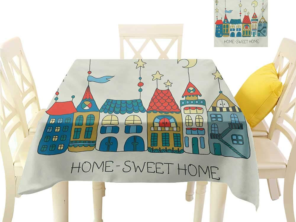 """familytaste Printed Tablecloth Home Sweet Home,Hand Drawn Style Apartment Illustration Stars Moons and Flag Town Village,Multicolor Dining Kitchen Table Cover W 54"""" x L 54"""""""
