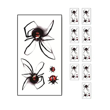 iTemer 10 PCS Halloween Araña tatuajes pegatinas, etiqueta ...