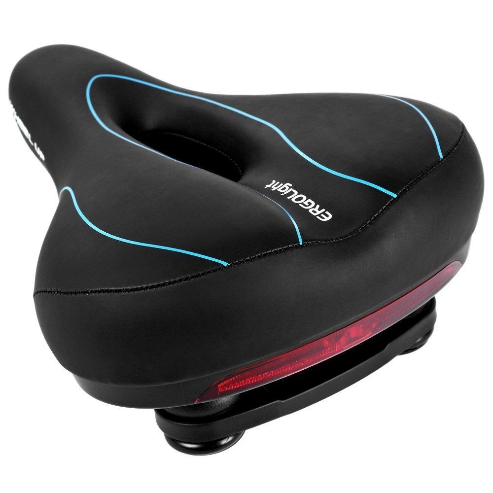 バイクシート自転車サドル、West Biking最も快適Wideバイクサドルソフト自転車シートクッションwithテールライトfor MTB Roadジェル快適ハイブリッドバイク B01JKTUFBK Hollow Black Blue Hollow Black Blue