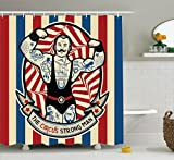 Circus Decor Shower Curtain Set By Ambesonne, Nostalgic Icon The Strong Man With Tattoos And Muscles Circus Star Fun Art Print, Bathroom Accessories, 69W X 70L Inches, Beige Red Blue