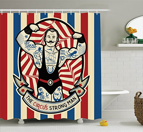 Circus Decor Shower Curtain Set by Ambesonne, Nostalgic Icon the Strong Man with Tattoos and Muscles Circus Star Fun Art Print, Bathroom Accessories, 84 Inches Extralong, Beige Red Blue (Ideas Present Christmas Mother)