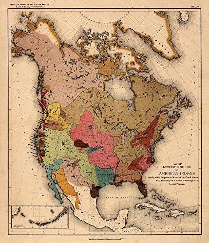 Antiguos Maps - Linguistic Stocks of American Indians Map Circa 1890 - (Native) Measures 24 in x 28 in (610 mm x 711 mm)