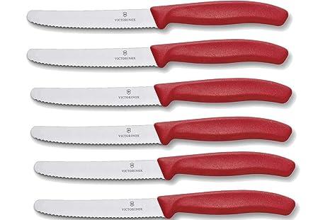 Victorinox - Juego de cuchillos de mesa (6 unidades), mango de color rojo, pack de 1 unidad