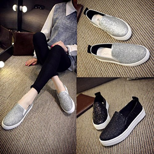 Transer Shining Ladies Leisure Flats Shoes, Women Slip On Comfy Casual Work Loafers Lazy Shoes Black