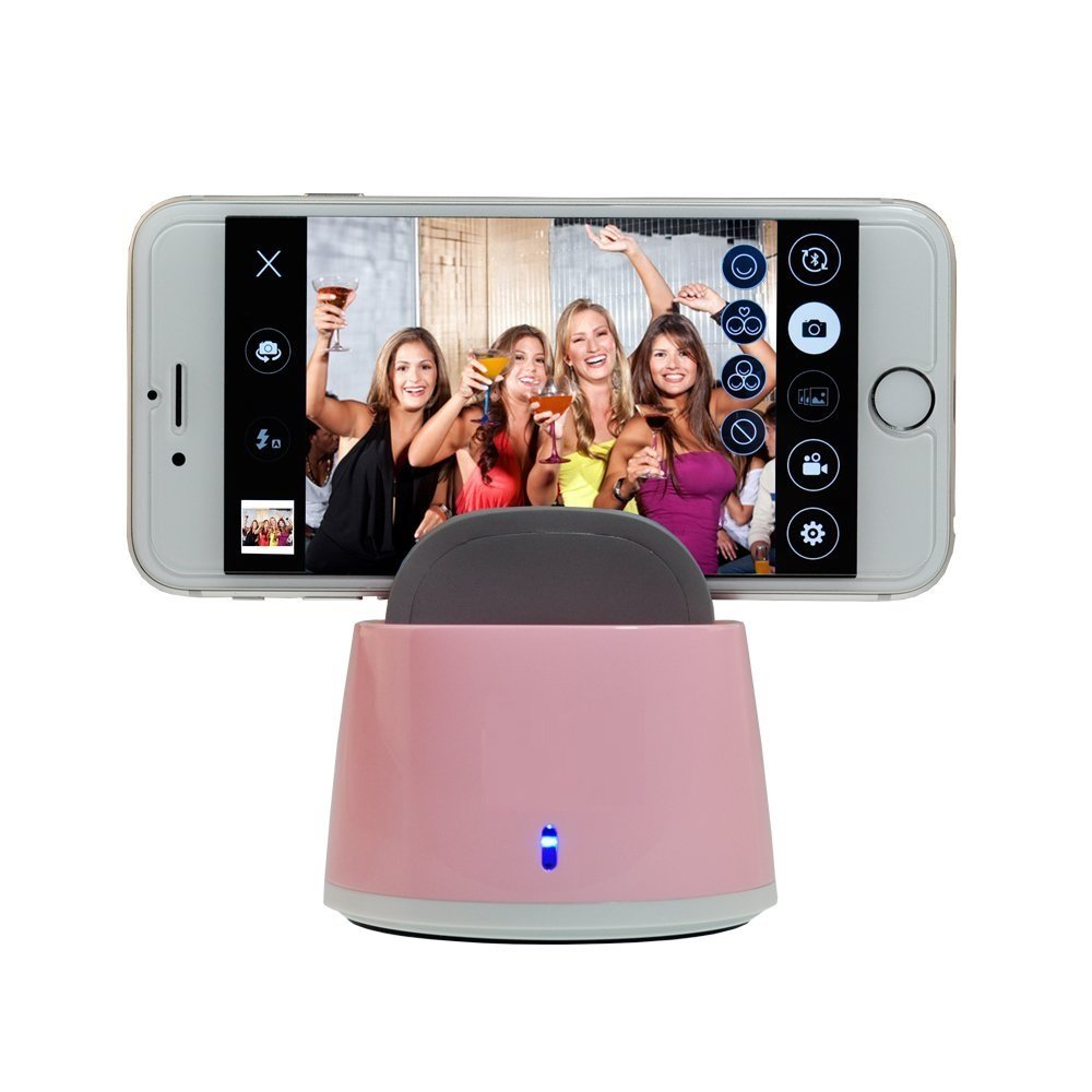Clebsch Smart Selfie Robot for Mobile Phone IOS and Andro System with Bluetooth Connection to Take Photo Auto Tracking 360 Degree Rotate (Pink Gen2) by Clebsch (Image #1)