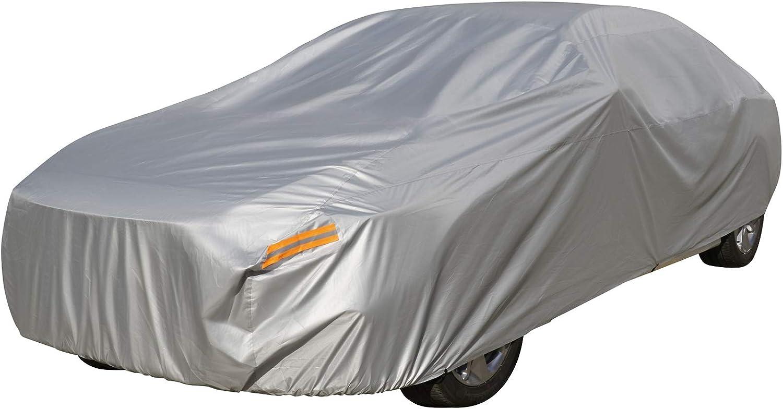 Waterproof Outdoor Car Covers, Universal Full Size Sedan Auto Vehicle Cover Windproof Dustproof Sun Uv Rain Protection XXL (182'-193'')