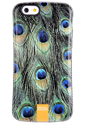 6SCase.com-16703-iPhone 6S Plus Case / iPhone 6 Plus Case, Tough Shield [Drop Protection] Soft Interior [Scratch Resistant] Perfect-Fit [Shock Absorbing] Non-Slip Hybrid Hard Armor Case, Peacock Feather 6113i9-B00T20ULNA