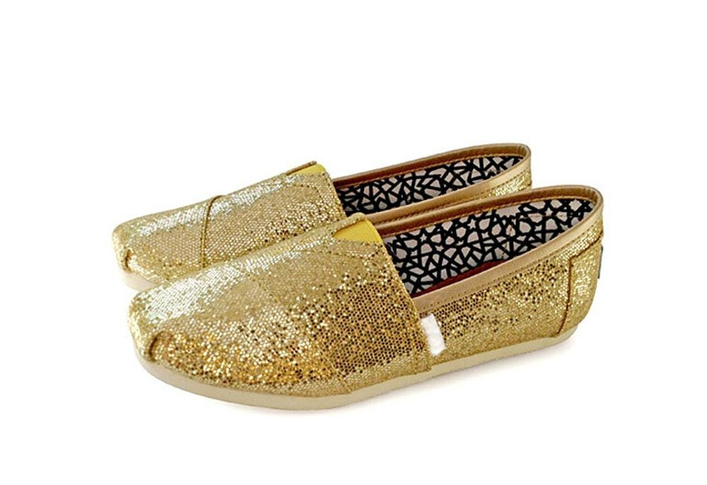 Playworld Womens Classic Sequin Slip On Shoes Ballerina Ballet Flats Loafers B01BS50GK4 7 B(M) US|Gold