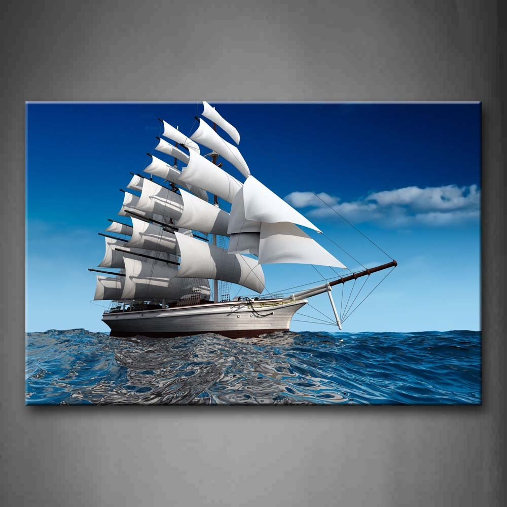 Blanco barco de vela en color azul agua decorativo pintura fotos impresión sobre lienzo coche la imagen para el hogar moderno decoración