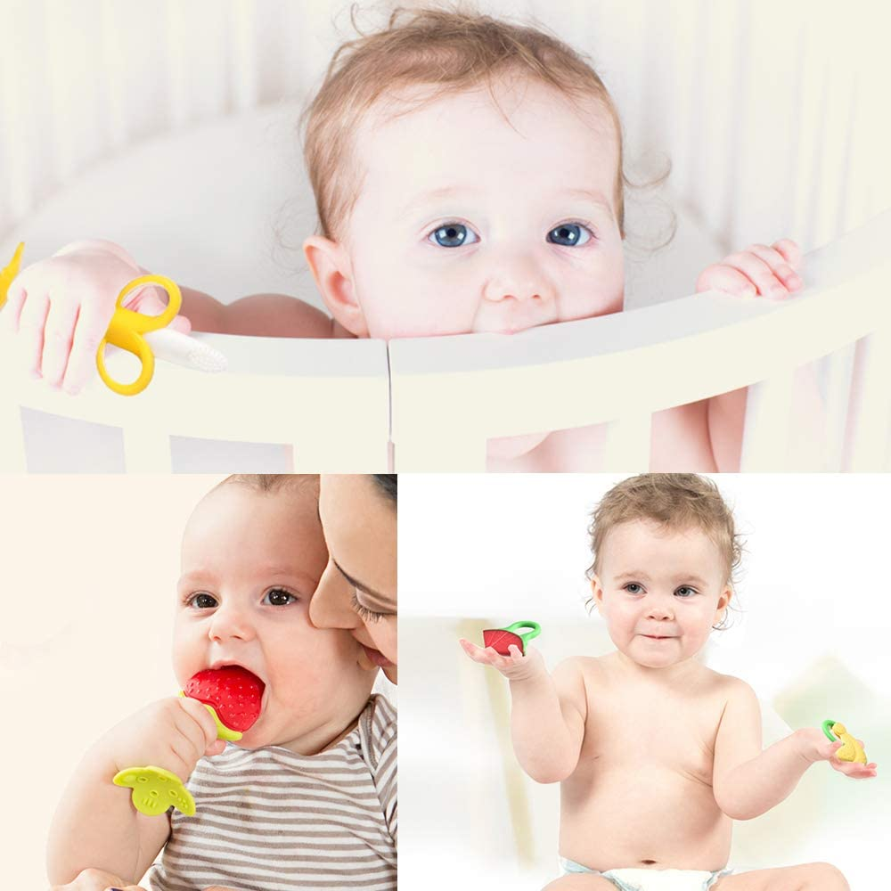 SILIVO Baby Toothbrush and Teether, 3 in Pack, Silicone Infant Training Finger toothbrushes with Storage Case(1 teether+ 2 Finger toothbrushes)