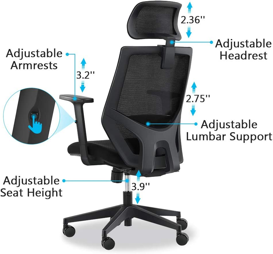 Ergonomic Office Chair, Mesh Chair with Lumbar Support, Tribesigns High Back Desk Chair with Breathable Mesh, Thick Seat Cushion, Adjustable Armrest, Backrest and Headrest: Kitchen & Dining
