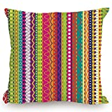 roho cushion toilet seat KissCase Throw Pillow Cushion Cover,Striped,Vertical Lined Bound Striped Mix Shapes with Ethnic Influences Vintage Vivid Graphic,Multi,Decorative Square Accent Pillow Case