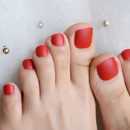 EchiQ uñas postizas de uñas postizas de color rojo mate con ...