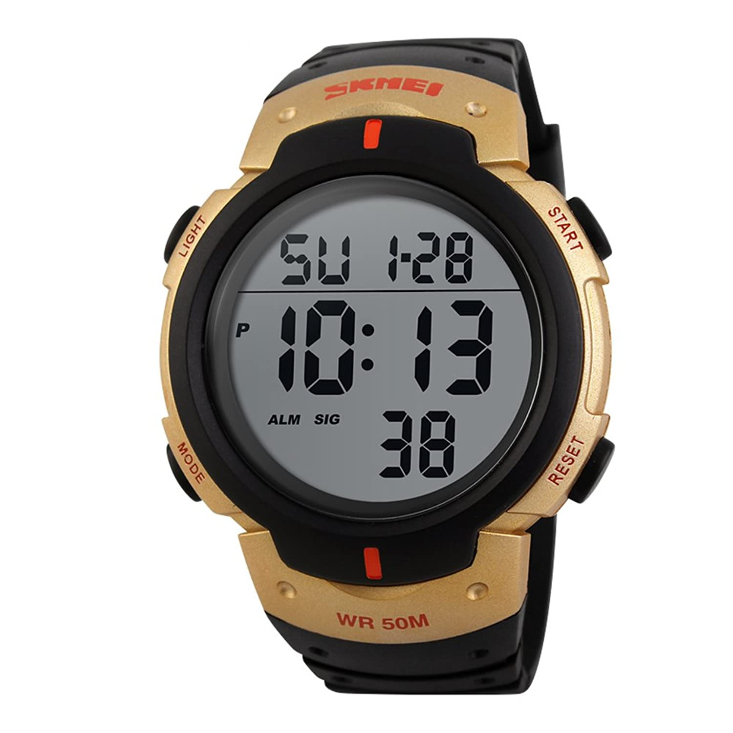 Amazon.com: Mens Big Digital Watch Water Resistant Black and Gold Sports Watch with Day Date Alarm: Watches
