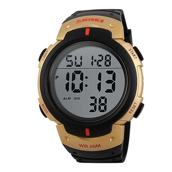 Para hombre Big Digital reloj resistente al agua negro y dorado reloj de pulsera deportivo con día fecha alarma: Amazon.es: Relojes