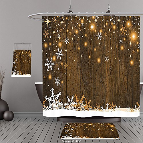 Uhoo Bathroom Suits & Shower Curtains Floor Mats And Bath TowelsChristmas Decorations Collection Rustic Wooden Backdrop with Snowflakes and Lights Warm Xmas Celebration Themed Brown WhiteFor Bathroom (Christmas Frontgate Doormats)