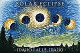 Idaho Falls, Idaho - Solar Eclipse 2017 - Starry Night (9x12 Art Print, Wall Decor Travel Poster)