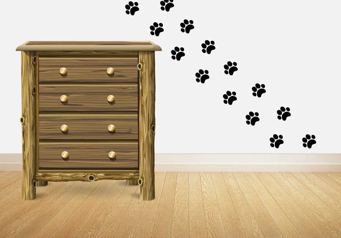 16 Large Paw Prints Premium Quality Decal Stickers - Our Amazing Super Tac Adhesive Holds Strong; Easily Re-Position and Reuse, Easy to Remove, 5.25'' Tall x 6'' Wide'' by SecurePro Products