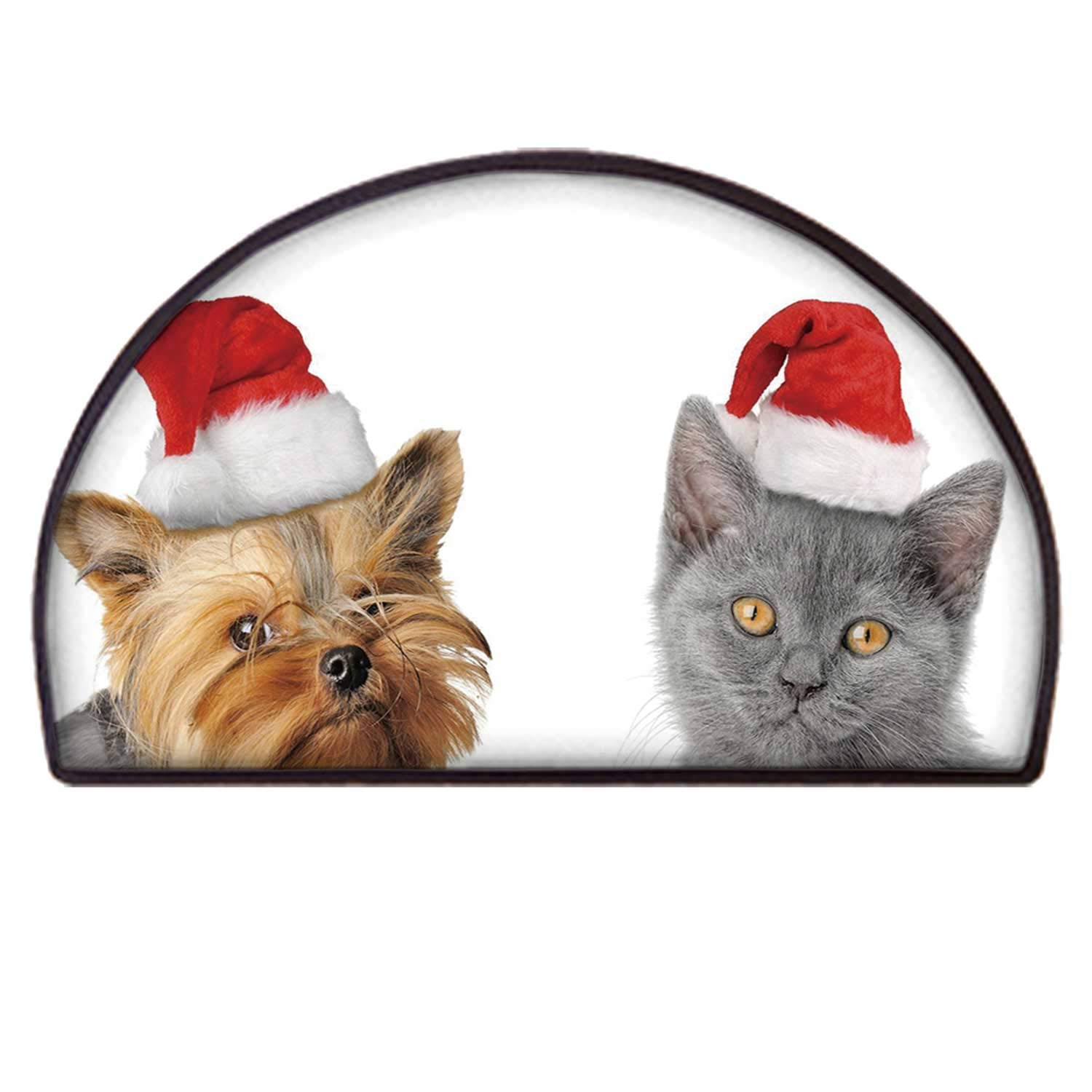 C COABALLA Christmas Practical Semicircle Mat,Adorable Cat and Dog with Xmas Hats Domestic Pet Animals Holiday Celebration Decorative for Back Door,100 x 200cm / 39.37 x 78.74 inch by C COABALLA